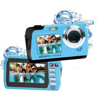 Easypix W3048-I Edge Digitalkamera 48 Megapixel Is, Blå Undervattenskamera, Frontdisplay