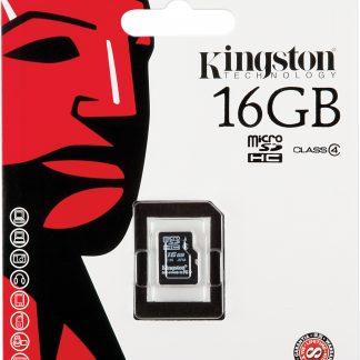 Kingston 16GB microSDHC Class 4 Flash Card Single Pack w/o Adapter