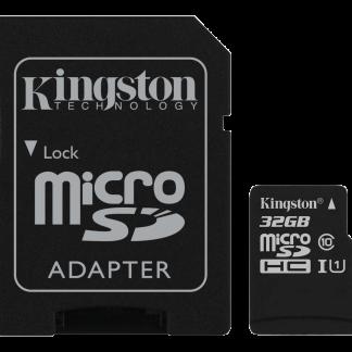 Kingston 32GB microSDHC Klass 10 UHS-I 45MB/s läs inkl SD Adapter