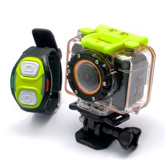 Sportkamera Full HD 1080p med armbandskontroll och vattentätt fodral